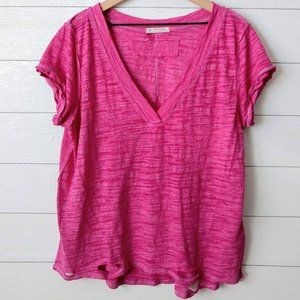 Free People Distressed Hem Slub Knit V Neck Tee L
